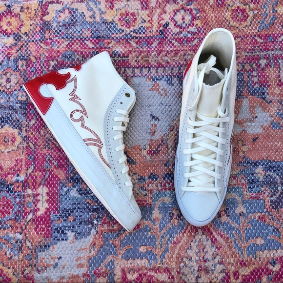 Converse Shoes - NIB Converse leather red stitched hi top sneakers